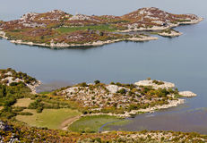 Coast with islands of lake Skadar Stock Images