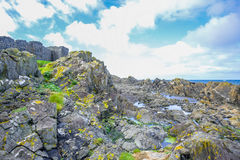 Coast of the Isle of Man from Peel Hill in Peel, Isle of Man Royalty Free Stock Photo