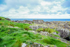 Coast of the Isle of Man from Peel Hill in Peel, Isle of Man Stock Images