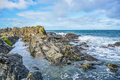 Coast of the Isle of Man from Peel Hill in Peel, Isle of Man Royalty Free Stock Photos