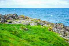 Coast of the Isle of Man from Peel Hill in Peel, Isle of Man Royalty Free Stock Images