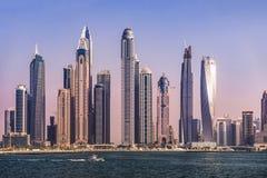 Coast of JBR with Skyscrapers at Sunset, Dubai. United Arab Emirates, 2018 royalty free stock photo