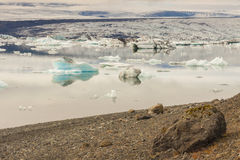 Coast of Jokulsarlon lagoon - Iceland. Royalty Free Stock Images