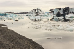 Coast of Jokulsarlon lagoon - Iceland. Royalty Free Stock Photography