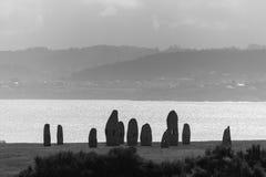 Coast of La Coruna, Spain. Promenade of Menhirs La Coruna, Spain stock image