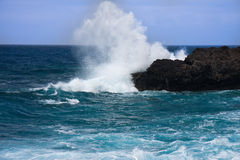 Coast of La Palma, Canary Islands. Spectacular breaking waves at coast of La Palma, Canary Islands royalty free stock photography