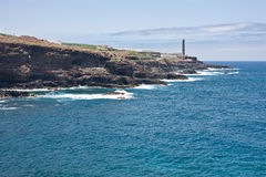 Coast of La Palma with lighthouse Royalty Free Stock Photo