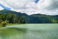 Lagoon of the Seven Cities, Sao Miguel island, Azores. Coast of Lagoon of the Seven Cities Portuguese: Lagoa das Sete Cidades, located on Sao Miguel island of stock images