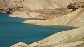 Coast of lake basin with shallow banks. Band-e Amir Lakes. Band-e Amir National Park, Bamyan Province, Afghanistan stock video footage