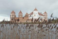 Mir castle in winter, Belarus. The coast of lake near   Mir castle in the Stock Images