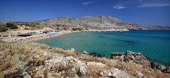 Panoramic view of Agathi beach on Mediterranean sea, Rhodes Island - Greece Royalty Free Stock Photo