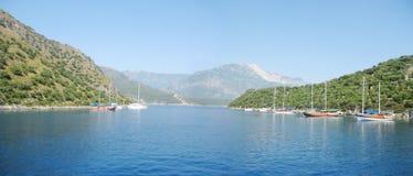 Coast landscape panorama in mediterranean sea Royalty Free Stock Photo