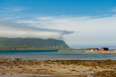 Coast landscape at Ramberg in Lofoten, Norway Stock Images