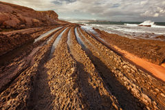 Coast of Liencres, formations provoked by the flysch in the coas Royalty Free Stock Photography