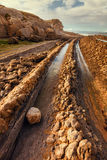 Coast of Liencres, formations provoked by the flysch in the coas. Coast of Liencres, rock formations provoked by the flysch in the coast of Cantabria, Spain Stock Photo