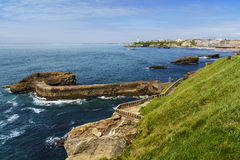 Coast and lighthouse of Biarritz during a sunny day, France Royalty Free Stock Photography