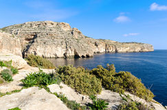 Coast in the limits of Zurrieq - Malta. The beautiful cliffs on the coastline of the south of Malta Stock Photo