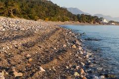 Coast line of calm sea in Turkey Stock Images