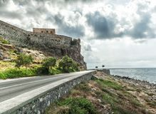 Coast line and castle wall at Rethimno, Crete Island, Greece royalty free stock images