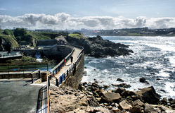 The coast line of La Coruna Stock Image