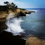 La Jolla Beach. This is the coast line of La Jolla, with waves crashing into the cliff side royalty free stock photos