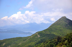Coast line landscape. Sea coast and hill landscape in Hongkong, shown as wide sea coast landscape and physiognomy Royalty Free Stock Photography