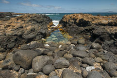 Coast line on Lanzarote, Canary island, Spain Royalty Free Stock Photo