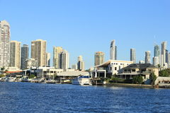Coast line of Nerang River Surfers Paradise, Gold Coast. Houses and apartments along the coast and beaches at Surfers Paradise on Gold Coast, Queensland Royalty Free Stock Photos