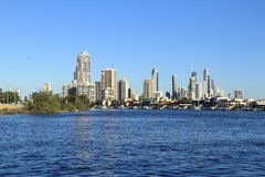 Coast line of Nerang River Surfers Paradise, Gold Coast. Houses and apartments along the coast and beaches at Surfers Paradise on Gold Coast, Queensland Stock Images