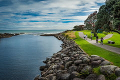 Coast line in New Zealand. People cycling and having great time on the coast line in New Plymouth, near Mount Taranaki by a lovely sunny and little cloudy royalty free stock photography