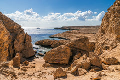 Coast line in Ras Mohamed National Park. Sea view. Ras Mohammed National Park. Egypt stock photography