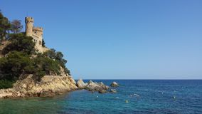 Coast Lloret De Mar, Costa Brava, Spain. Castle and rocky coast of Lloret De Mar, Costa Brava, Spain stock images