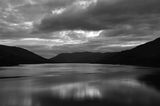 Coast of Loch Earn in bw Royalty Free Stock Images