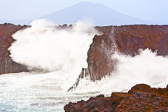 Coast at Los Hervideros with huge waves Royalty Free Stock Photography