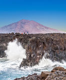 Coast at Los Hervideros with huge waves in Lanzarote Royalty Free Stock Photo