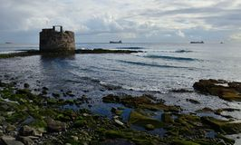 Coast at low tide and old defense tower royalty free stock photos