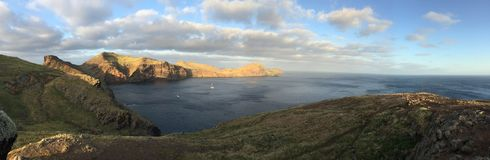 Coast of Madeira island. Coast with cliffs, mountains and trails on the island of Madeira, Portugal stock photo