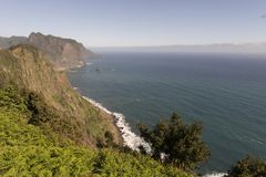Coast of Madeira island. Coast with cliffs, mountains and trails on the island of Madeira, Portugal stock images