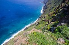 Coast of Madeira island, Ponta do Pargo, Portugal Royalty Free Stock Images