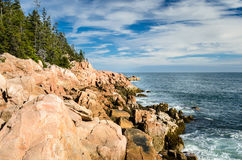 Coast of Maine and Cloudy Sky Stock Images
