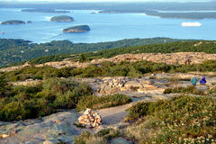 Coast of Maine Seascape in Acadia National Park. The scenic coast of Maine in New England aerial view from a coastal mountain at the top of Mount Cadillac in Stock Image