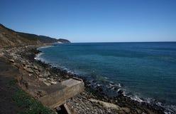 Coast of Malibu in California. Beautiful, scenic Pacific coast in California. Taken from Pacific Coast Highway near Los Angeles and Malibu Royalty Free Stock Photo