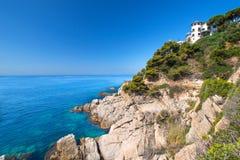 Coast of Mallorca with house. House on coast of Mallorca, Spain Royalty Free Stock Image