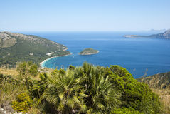 The coast of Mallorca. Panoramic view of the coast of Mallorca, Spain Royalty Free Stock Images