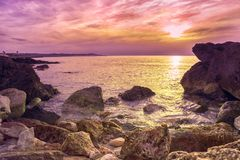 Coast of Mallorca. Sunny sunset on the coast of Mallorca Stock Images