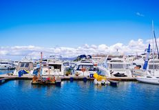 A coast with many parked boats stock photography