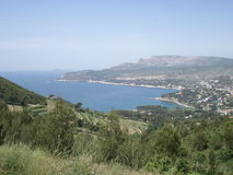 Coast between Marseilles and Cassis from the ridge road in the south of France. A view on the island of Riou, Cassis and the coast between Marseilles and Cassis Royalty Free Stock Photo