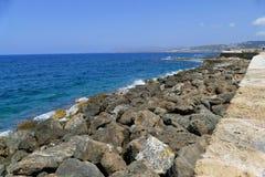 Huge stones. Incredible beauty beaches of Crete. Stock Photo