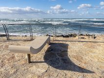 The coast of the Mediterranean Sea in Israel on a sunny day. stock image