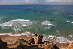 Coast of Mediterranean sea in  midday Stock Images